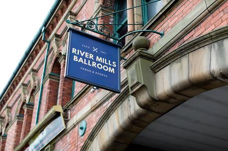 River Mills Ballroom Wedding Photography Exterior sign from road