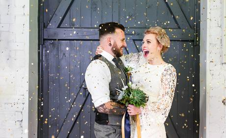 River Mills Ballroom Wedding Photography Quirky wedding couple smile with gold confetti