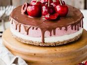 Bake Cherry Cheesecake with Dark Chocolate Ganache (Gluten Free, Paleo Vegan)