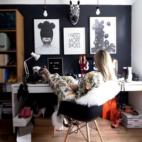 @seasonincolour top 13 #livefabulousandfearless Instagram homes. Quirky home office with moody gray feature wall.