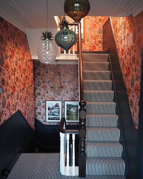 @the_idle_hands top 13 #livefabulousandfearless Instagram homes. -Stunning staircase with patterned wallpaper and monochrome striped carpet.