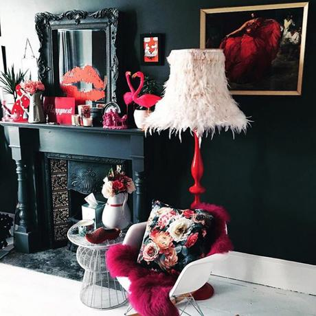 @sherylyonthespectrum top 13 #livefabulousandfearless Instagram homes- dark and moody interiors pink accents