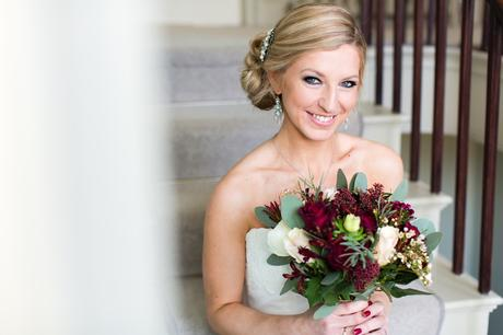 Portrait of bride on the stairs York Wedding Photography at Hornington Manor Farm