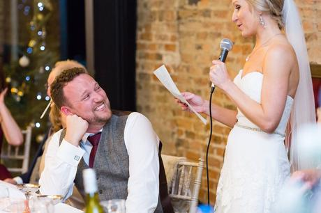 Bride gives a speech at York Wedding