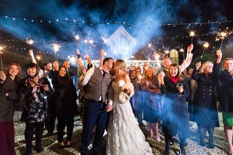 Sparkler Photograph with smoke York Wedding Photography at Hornington Manor Farm