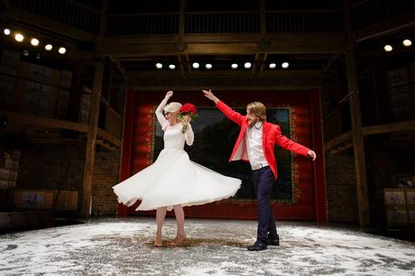 Bride & Groom dance on stage at the Swan Theatre