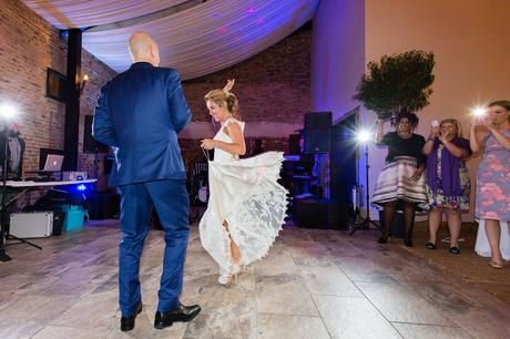 First dance couple at Hornington Manor Farm with blue and purple light