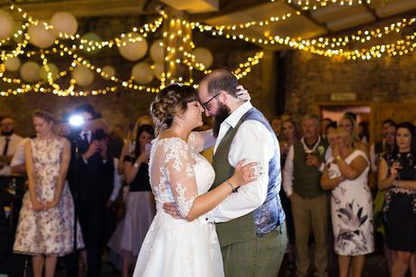 Bride and groom first dance at Barmbyfield Barns
