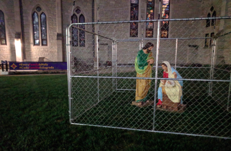 Caged Jesus used to protest Trump's family separation policy