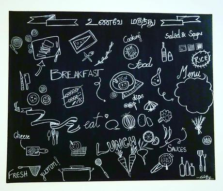 Cafe style chalk menu for the Dining area