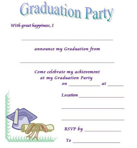 Playful image throughout printable graduation invitations