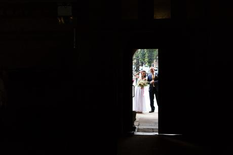 St Stephens Hampstead Heath Wedding Venue Bride waiting outside of door