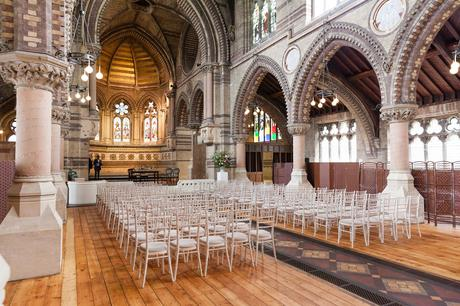 Interior photograph set up for wedding St Stephens Hampstead Heath Wedding Venue