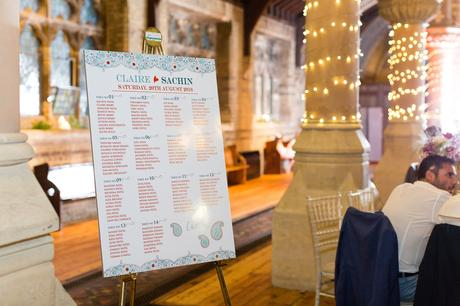 St Stephens Hampstead Heath Wedding Venue colourful seating plan