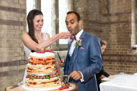 St Stephens Hampstead Heath Wedding Venue cake cutting photograph