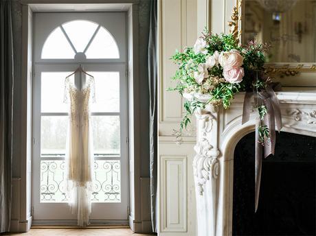 Beautiful elegant wedding inspiration shoot with burgundy accents