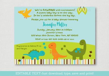 dinosaur baby shower invitations online paperblog
