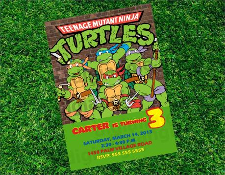 Ninja Turtle Birthday Party Invitations