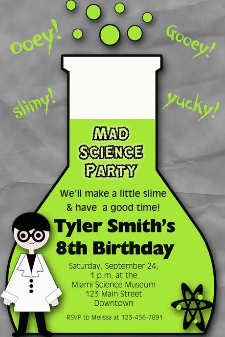 Science Themed Party Invitations