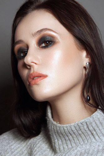 boho wedding makeup for dare brides with shimmer dark eyeshadows and coral lips shikstudio via instagram