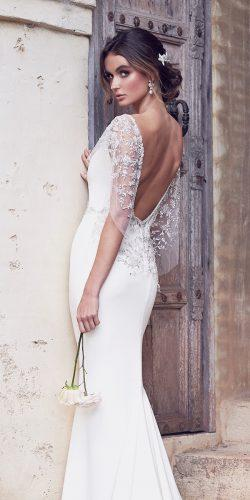 vintage low back fit and flare embroidered beaded shoulder loops anna campbell 2019 wedding dresses eva