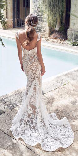 anna campbell 2019 mermaid lace open back with embroidered straps train wedding dresses trumpet skirt jamie