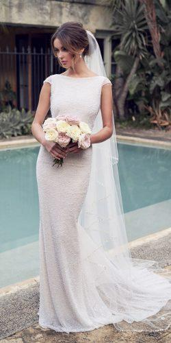 anna campbell 2019 wedding dresses sheath bling cap sleeve bateau neckline romantic blair