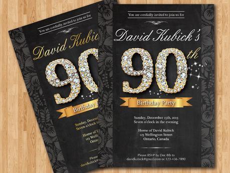 90th Birthday Invitation Cards
