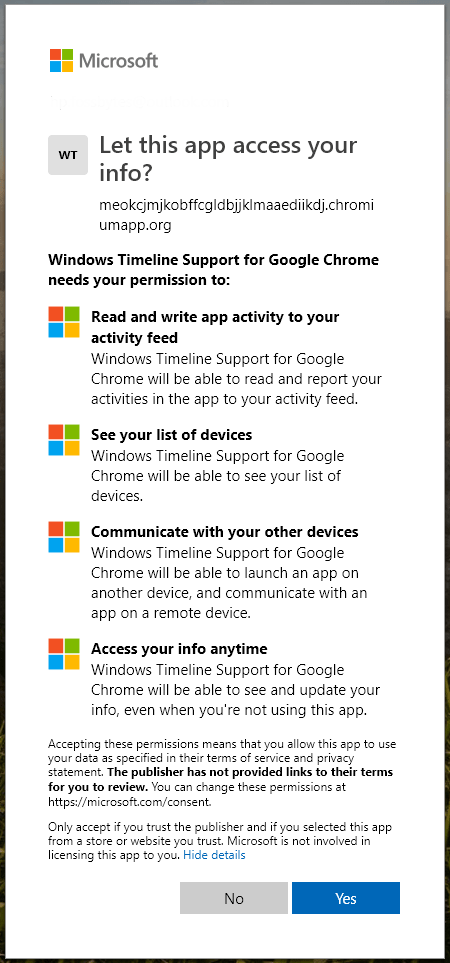 windows timeline support permissions