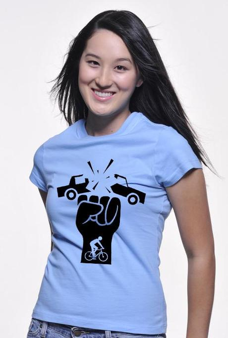 One Less Car, fist, t-shirt,
