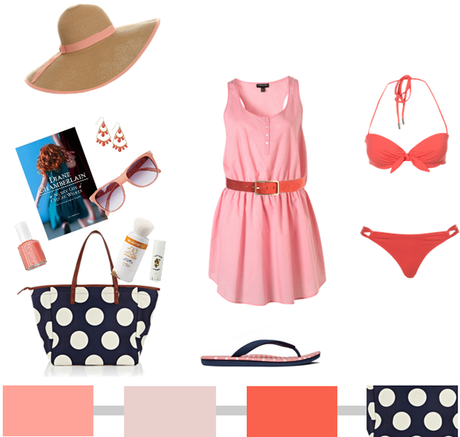 Beach Wear {Salmon + Coral + Navy Polka Dots}…