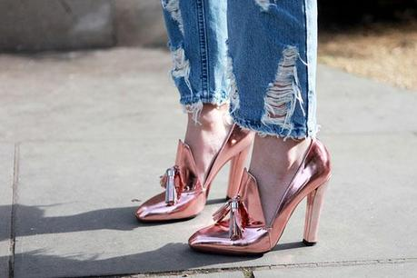 The rose gold shoes