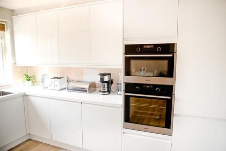 two storey front side extension, kitchen makeover, quickstep livyn, modern white kitchen, clerkenwell gloss hoydens kitchen, gorenje microwave oven, gorenje oven,