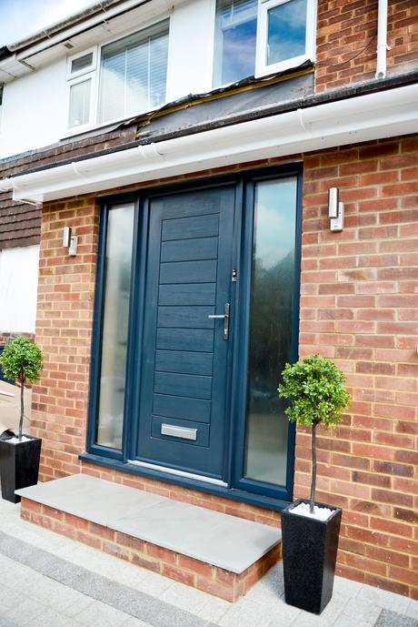 modern front door, composite front door, two storey front side extension,