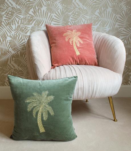 Interior deign tips- tropical velvet cushions