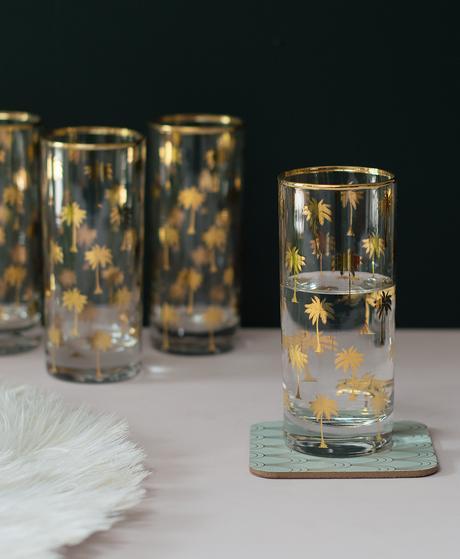 Advice for interior design- pretty glassware- tropical palm tree glasses