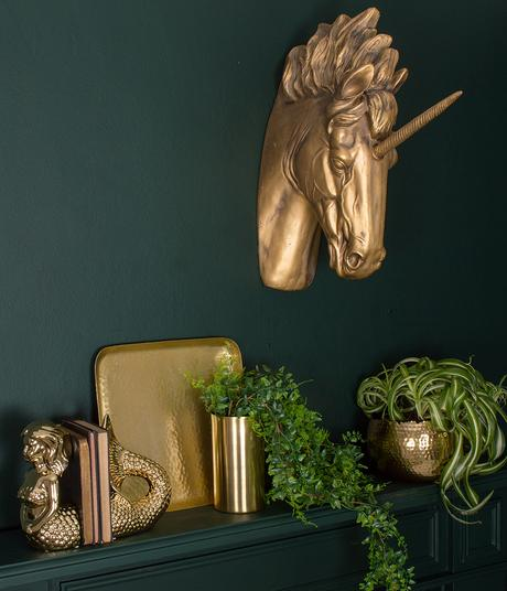 Interior styling advice- gold unicorn head wall mount