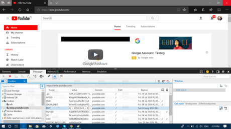 yotube cookies in edge browser