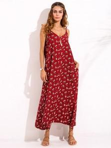 Boho Floral Printed Spaghetti Strap Maxi Dresses