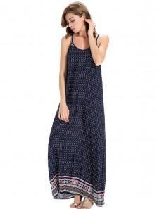 Boho Printed Sleeveless Strap Beach Maxi Dress