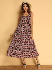 Boho Women Printed Sleeveless Summer Maxi Dresses
