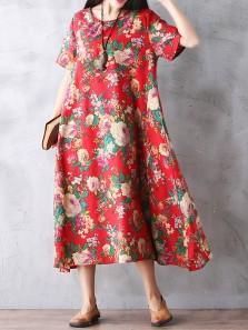 Boho Vintage Floral Printed Loose Short Sleeve Maxi Dresses