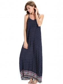 Boho Printed Sleeveless Strap Beach Maxi Dress