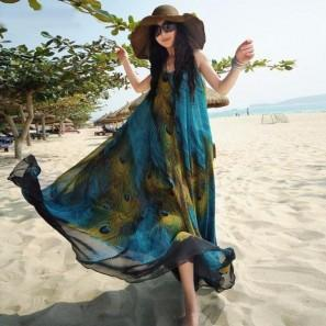 Boho Women Sleeveless O Neck Peacock Printed Maxi Dresses