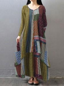 Boho Printed Two Layers Long Sleeve Maxi Dresses