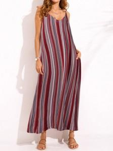 Boho Stripe Spaghetti Strap Backless Maxi Dress
