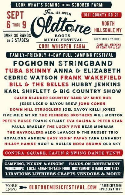 The fourth annual Oldtone Roots Music Festival, September 6-9, 2018, Hillsdale, NY