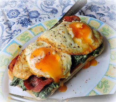 Bacon, Egg & Creamed Spinach on Toast