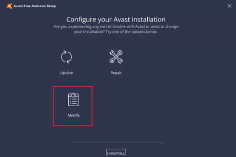 modify avast free antivirus