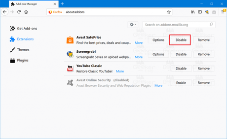 disable avast safeprice firefox